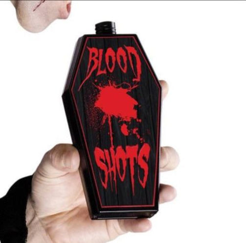 COFFIN SHAPED VAMPIRE FLASK - Holds 5.3 oz. Blood - Halloween Costume Accessory