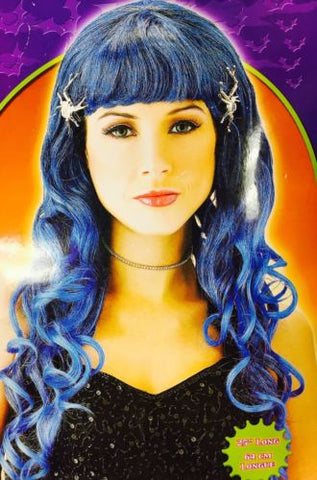 "Glamour Witch Adult Costume Wig - Blue - 25"" Long Blue Curly Ends with Bangs"