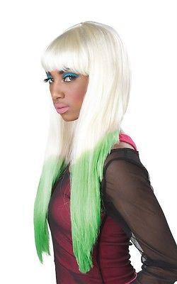 Blonde/Green Color Dipped Wig - Adult - Party Like A Rock Star