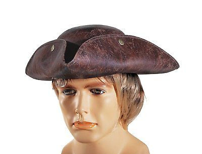 ADULT BROWN FAUX LEATHER COLONIAL PIRATE TRICORNE TRI-CORNER TRICORN COSTUME HAT