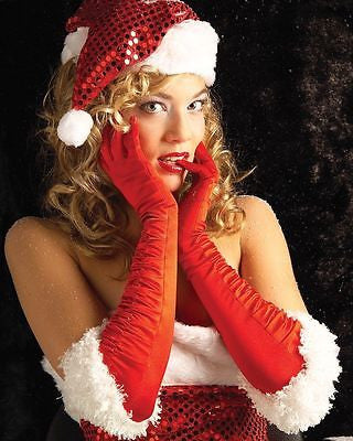 Sexy Miss Santa Claus Red Satin Gloves Christmas Costume Holiday Accessories fnt