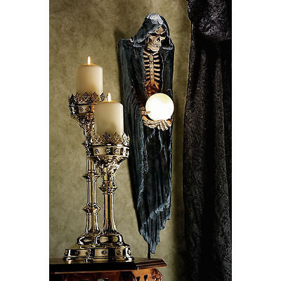 Mythic Creature of the Dead Grim Reaper Skeleton Halloween Decor Wall Light