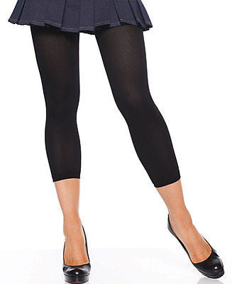 Footless Capri Pantyhose Opaque Nylon Tights Size Regular Black Leg Avenue 7876