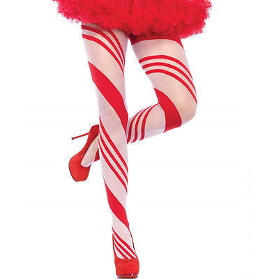 Leg Avenue 7944 Pantyhose Sheer Candy Cane Striped Tights O/S Red & White