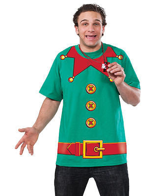 Adult Christmas Holiday Elf Printed T-shirt Shirt Costume