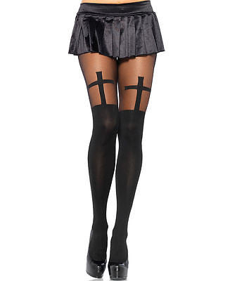 RAVE / EDC Leg Avenue 7903 Opaque Pantyhose Tights With Sheer Thigh Accent