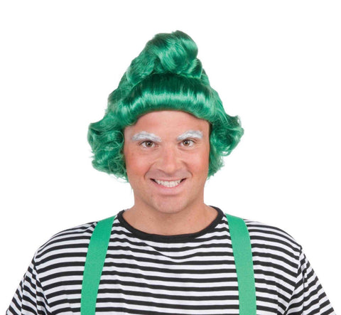 Green Christmas Oompa Elf Costume Wig Adult One Size - Willy Wonka Oompa Wig
