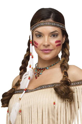 Bead and Feather Native American Indian Costume Headband