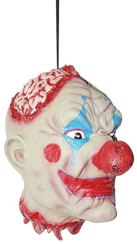 Life-Sized Severed Latex Clown Head -Freaky Clown Hanging Head Halloween Prop