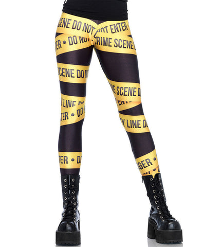 Crime Scene Tape Print Leggings - Leg Avenue 13547- Large