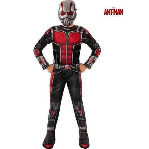 Ant Man Costume Set Children Jump Suit Kids Halloween Cosplay Mask Comic Small
