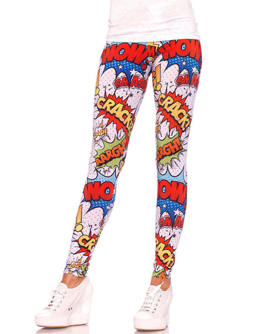Crime Fighter Comic Print Leggings