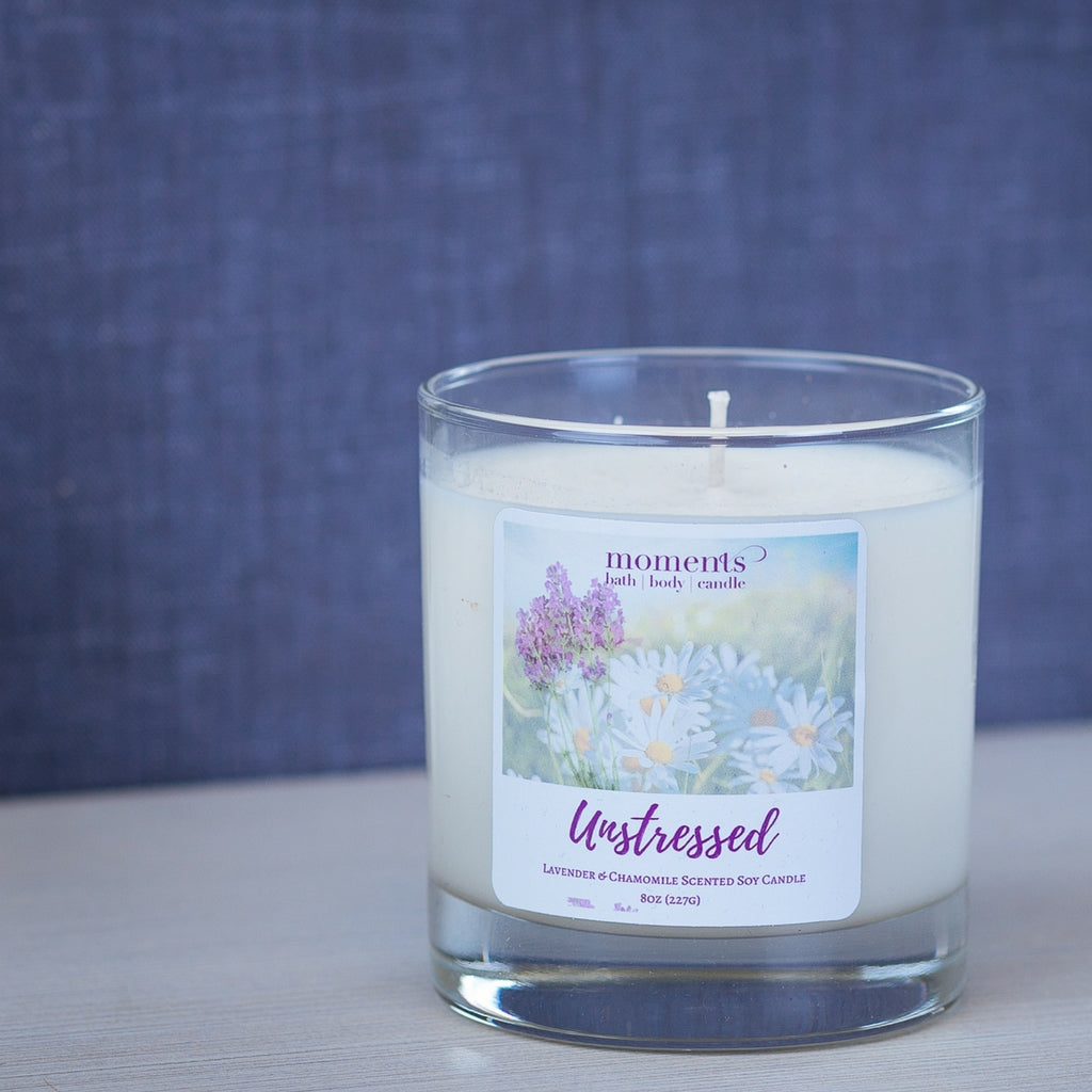 Unstressed Soy Candle Lavender and Chamomile Scented