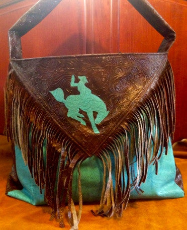 Turquoise bucking horse diaper bag