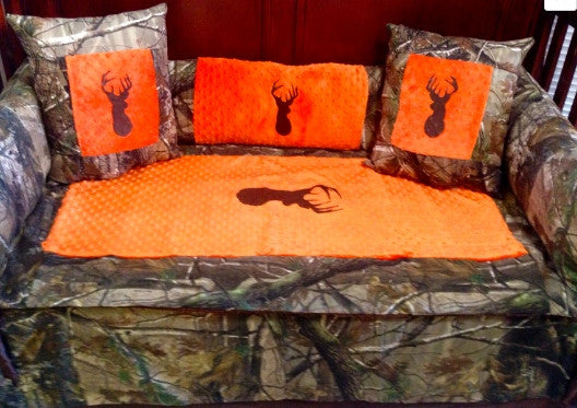 225 45 15 >> Saftey orange Brown buck Realtree camo baby bedding for ...