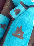 Turquoise Barrel racer Cowgirl baby bedding for your nursery