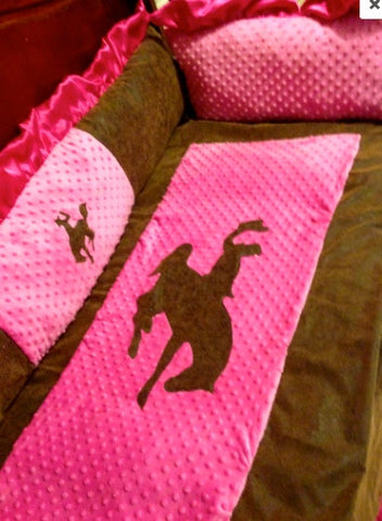 hot pink ruffled buckaroo cowgirl baby bedding set for your nursery
