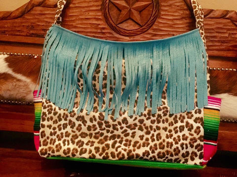 Leopard and serape diaper bag