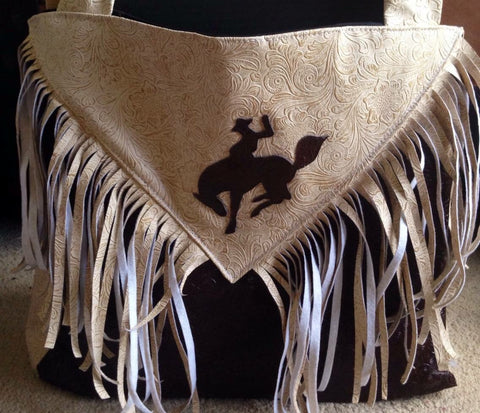 Cream and brown bucking horse bag