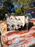 Turquoise gator speckled cowhide bag