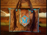 Cowhide leather diaper bag