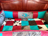 Livestock brand red rustic patchwork crib set