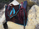 Feather cowhide bag