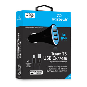 Turbo T3 USB Vehicle Charger