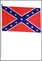 "12""x18"" CONFEDERATE REBEL STICK FLAG"