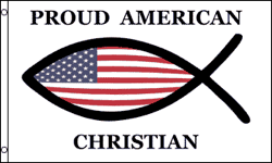 3'X5' SUPER POLY PROUD AMERICAN CHRISTIAN FLAG