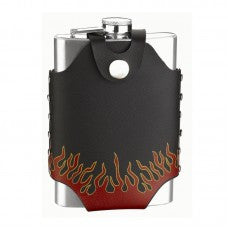 8oz Stainless Steel Flask with Flame Design Carry Pouch