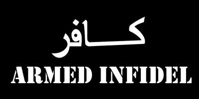 "Armed Infidel Bumper Sticker. Size 4""x7 1/2""."
