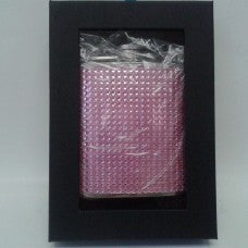 6oz Pink Rhinestone Studded Bead Hip Flask with Black Gift Box