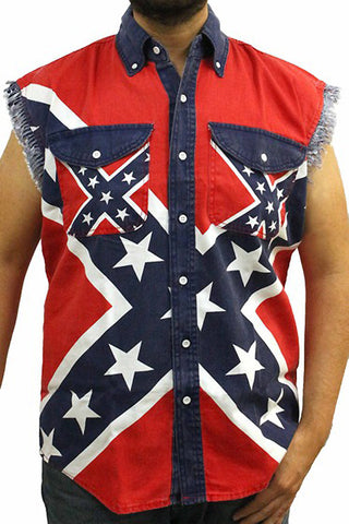 Rebel flag sleeveless denim shirt