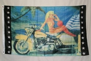 Blonde On Motorcycle 3'x5' Polyester Flag