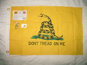 Gadsden Cotton 3'x5' sewn and tailored flag with lapel pin & brass hooks