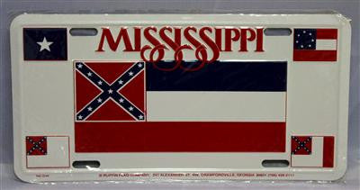 "Mississippi 4 Flags CSA Aluminum License Plates (Auto Tag). 6""x12"""