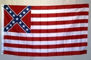 Rebel & USA 3'x5' Polyester Flag with canvas header & brass grommets