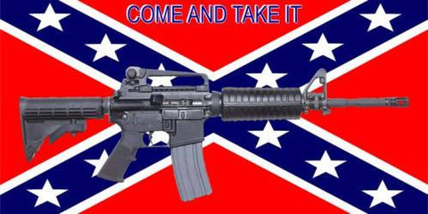 "Rebel Confedeate Battle Flag M4 ""Come and Take It"" 3' x 5' Flag"