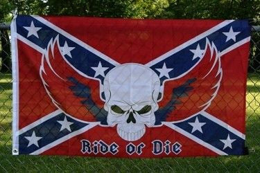 Rebel Ride or Die 3'x5' Polyester Flag with canvas header and brass grommets.