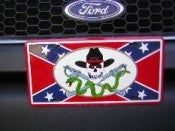 "Rebel Skull Aluminum License Plates (Auto Tag). 6""x12"""