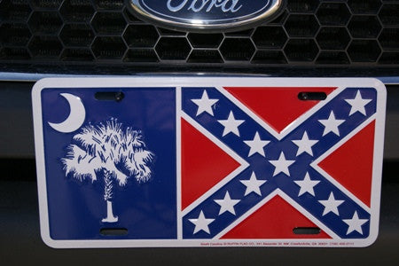 South Carolina Rebel Battle Aluminum License Plates (Auto Tag).