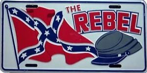 The Rebel Hat and Flag Auto Tag
