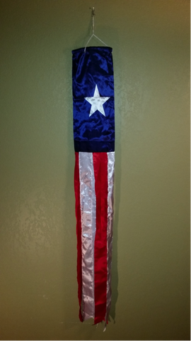 BRIGHT SHINY TEXAS WINDSOCK 5 FT TAILS