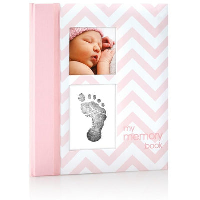 pearhead chevron baby book pink