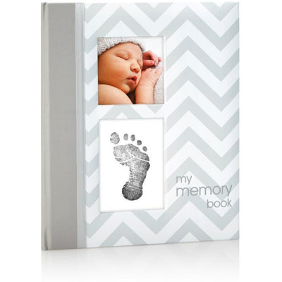 pearhead chevron baby book grey