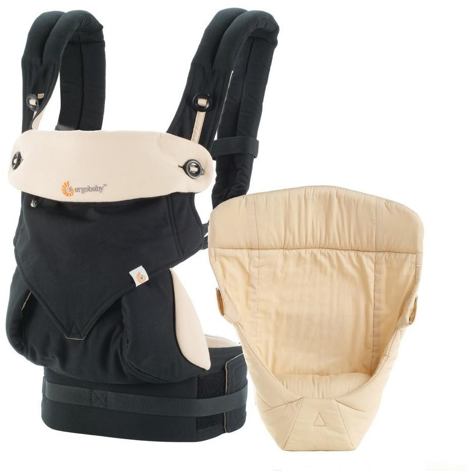 ergobaby 360 bundle of joy black/camel with cream easy snug infant insert