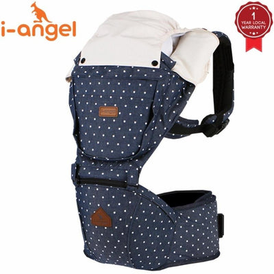 i-angel denim hipseat baby carrier solid