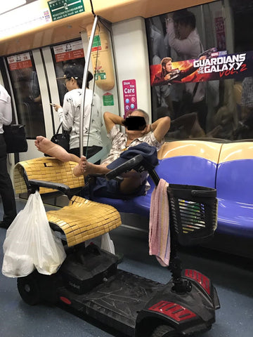 Inconsiderate mobility scooter uncle on MRT