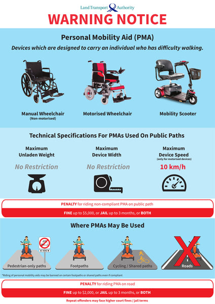 LTA Warning Notice for Personal Mobility Aids (PMA)
